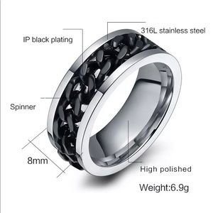 Unique Spin Chain Ring - Stainless Steel-Size 8